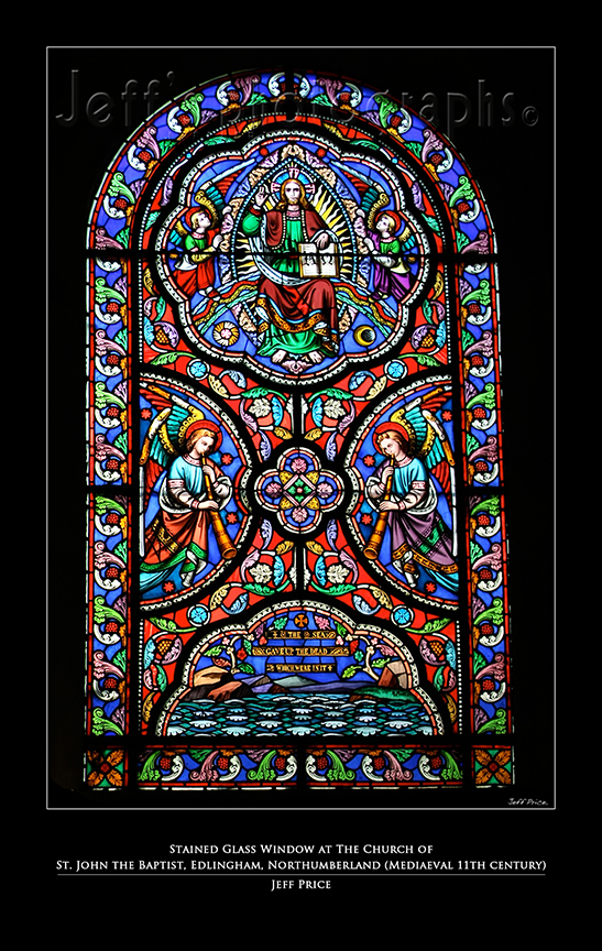 Stained Glass Window at The Church of St. John the Baptist, Edlingham, Northumberland (Mediaeval 11th century)