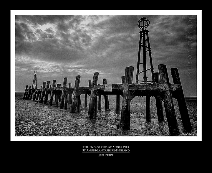 The End of Old St Annes Pier, St Annes, Lancashire' England (B&W)